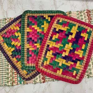Boho weaved placemat pads trivets whicker grass